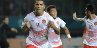 "Cukur Laos 3-0 dalam laga penyisihan Grup A Asian Games 2018, dua gol Timnas U-23 diborong pemain naturalisasi Alberto ""Beto"" Goncalves (9) pada ment ke-13 dan 47, di Stadion Patriot Chandrabhaga, Bekasi, Jumat (17/8). (Pras/NYSN)"