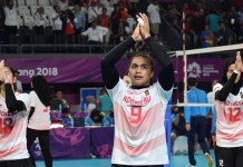 Aprilia Santini Manganang (9) dan kawan-kawan, takluk 3-0 dari Timnas putri Korea Selatan, pada perempatfinal cabang bola voli, yang dihelat di Volley Indoor, Gelora Bung Karno, Senayan, Jakarta, Rabu (29/8). (Riz/NYSN)
