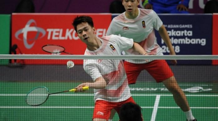 Kevin Sanjaya Sukamuljo/Marcus Fernaldi membalas kekalahan mereka di Kejuaraan Dunia 2018 lalu, usai mengalahkan duet Takeshi Kamura/Keigo Sonoda, dan membantu kemenangan Indonesia 3-1 atas Jepang, di laga Semifinal beregu putra cabor bulutangkis Asian Games 2018. (Pras/NYSN)