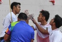 Tim Speed Relay Putra Indonesia 2, yang diwakili oleh Hinayah Muhammad, Sufriyanto Rindi, Dzar Yulianto Abu, dan Leonardo Veddriq sukses mencatatkan waktu 18,86 detik dan mengalahkan Indonesia 1, di Jakabaring Sports City, Palembang, Senin (27/8). (INASGOC)