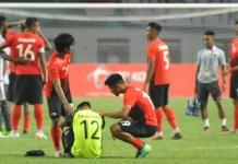 Kiprah Timnas U-23 di Asian Games 2018 harus berakhir dengan dramatis. Hansamu Yama dkk akhirnya kalah, lewat drama adu penalti 4-3 dari Uni Emirat Arab (UEA), setelah pertandingan pada waktu normal berakhir dengan skor 2-2. (Pras/NYSN)