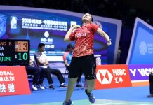 Gregoria Mariska Tunjung menjadi salah satu wakil yang tersisa bagi Indonesia, melaju ke babak perempat final perempat final China Open 2018 BWF World Tour Super 1000, di Olympic Sports Center Xincheng Gymnasium, Changzhou. (Humas PBSI)