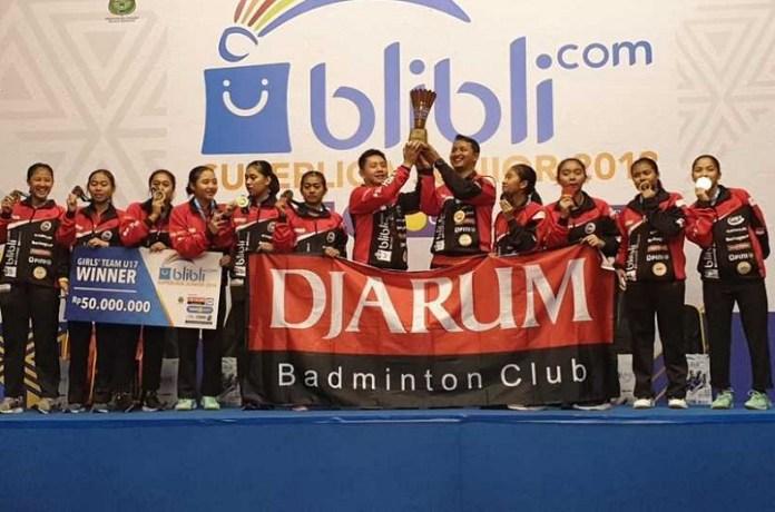 PB Djarum Putri U-17 mengunci gelar juara Blibli.com Supersoccer Junior 2018 dan meraih Trofi Yuni Kartika, usai mengalahkan PB Jaya Raya Jakarta 3-1, di GOR Djarum, Magelang, Sabtu (20/10). (beritasatu.com)