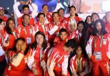 Imam Nahrawi (Menpora), mengaku bangga dengan perjuangan atlet muda Indonesia di ajang Youth Olympic Games 2018, Buenos Aires, meskipun hanya mampu meraih medali perunggu melalui Nur Vinatasari dari cabang angkat besi. (Kemenpora)