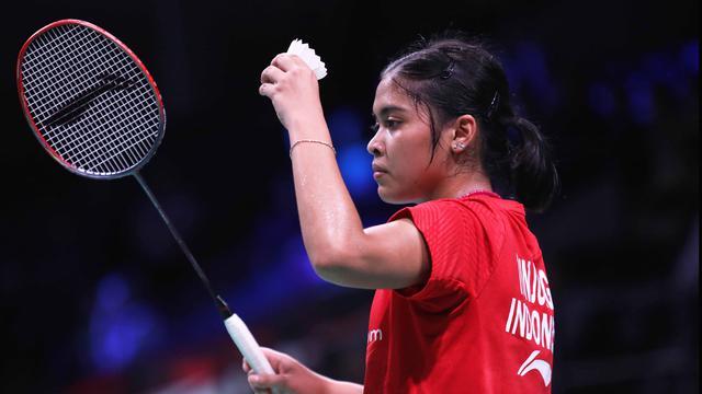 Tunggal putri Indonesia, Gregoria Mariska Tunjung, menang atas pemain China, Chen Xiaoxin, pada babak pertama Denmark Terbuka 2018, di Odense (16/10/2018). (PBSI)