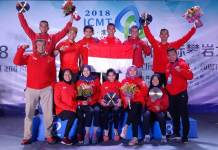 Indonesia sukses mengawinkan medali emas nomor men's speed dan women's speed kejuaraan The Belt and Road International Climbing Master Tournament 2018, di Huaian, China. (FPTI)