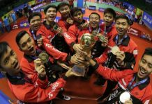 PB Djarum Kudus Putra U-19 merebut juara Piala Liem Swie King Superliga Junior 2018, usai mengalahkan PB Exist Jakarta, dengan skor 3-1. (PB Djarum)