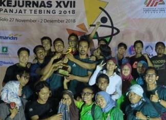 Pada Kejurnas XVII Panjat Tebing 2018 yang berlangsung di Solo Sport Climbing Center, Kompleks Stadion Manahan, Solo 27 November-2 Desember, Jatim kembali menjadi nomor satu. Mereka total mengumpulkan delapan emas, enam perak, dan tiga perunggu. (suaramerdeka.com)