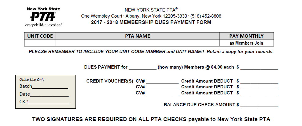 Dues Payment Image - NYS PTA