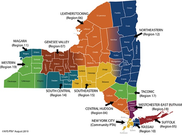 Map Of New York Hudson Valley.Contacts Region Directors Nys Pta