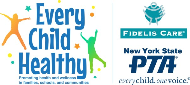 Every Child Healthy Fidelis Care and NYS PTA logos