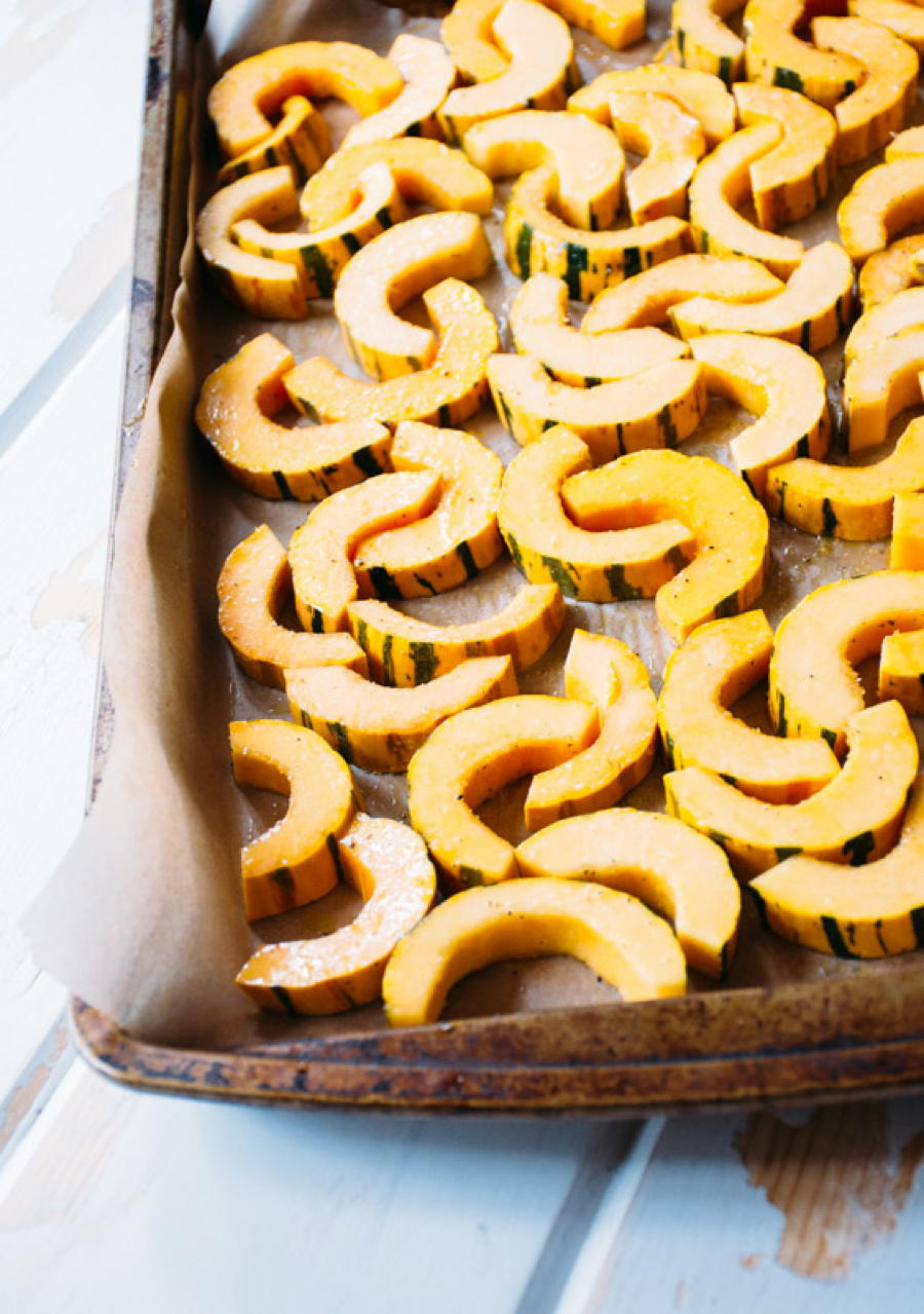 roasted delicata squash with fried shallots, herbs and salted brown butter yogurt   www.nyssaskitchen.com