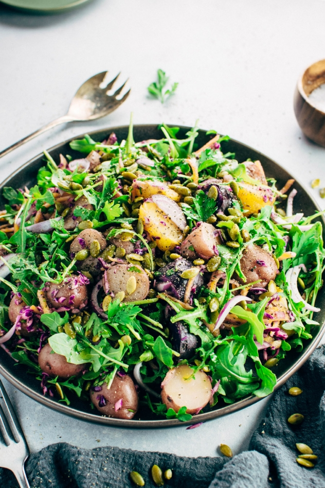 This colorful winter potato salad is loaded up with all the healthy winter veggies, and also brings a taste of what's to come with warmer weather eats! Simple to make and whole30 friendly, vegan, and paleo - a perfect dish to enjoy and share as the winter months turn to spring!