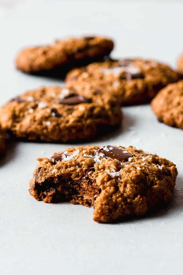 These salted gluten free oatmeal chocolate chunk cookies are SO crazy delicious that I'm betting they will become your new favorite cookie! Chewy and tender on the inside with just barely crisp edges, and the perfect amount of chocolate for a healthy treat you are going to FALL IN LOVE WITH!
