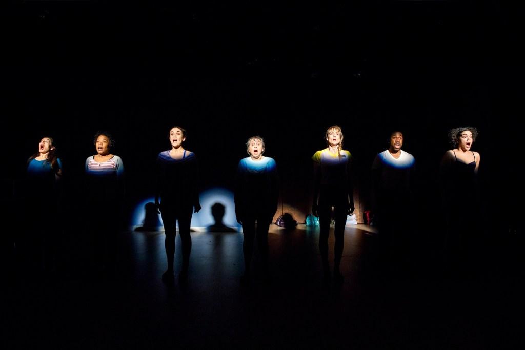 Purva Bedi, Eboni Booth, Dina Shihabi, Ellen Maddow, Lucy Taylor, Ikechukwu Ufomadu and Camila Canó-Flaviá in Dance Nation. Photo: Joan Marcus