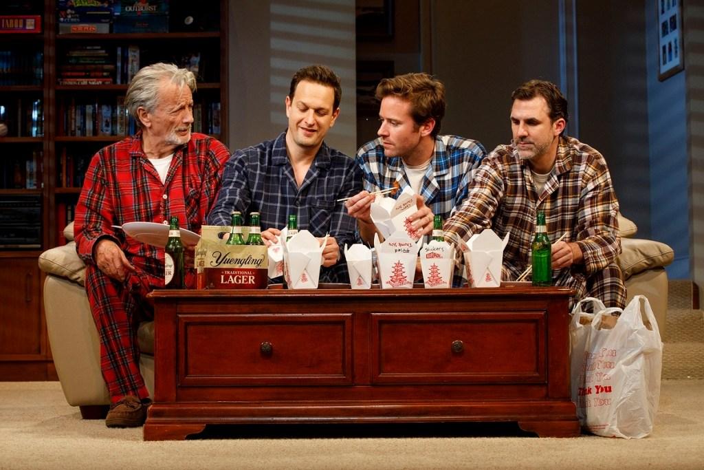 <I>Stephen Payne, Josh Charles, Armie Hammer and Paul Schneider celebrate Christmas in Straight White Guys. Photo: Joan Marcus</I>