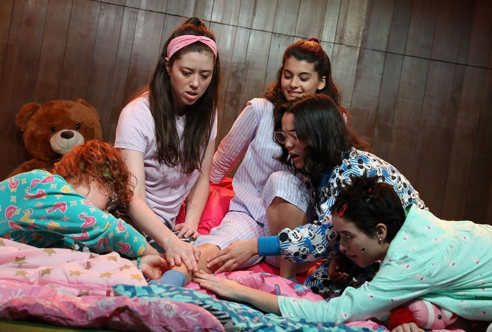 Left to right: Ali Rose Dachis, Nicole Rodenburg, Sofia Black-D'Elia, Midori Francis and Abby Corrigan in <i>Usual Girls</i>. Photo: Joan Marcus.