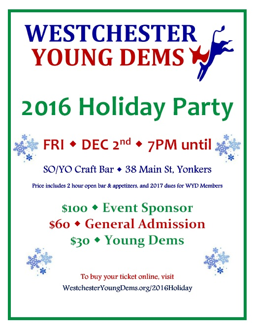 Westchester Young Democrats 2016 Holiday Party Flyer