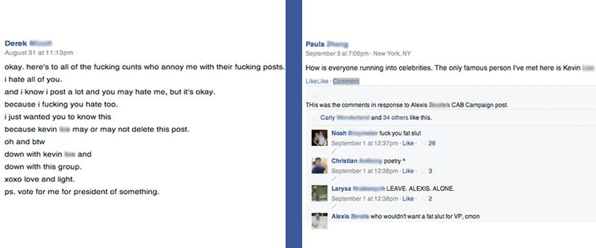 Screenshots from the Facebook group indicate vulgar language and bullying.