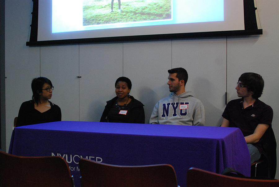 Francesca Hyunh, Senina Mitchell, Thiago Fernandes and Rosario Giarratana answer questions with Andrew Gordon (not pictured) during a panel on student diversity.