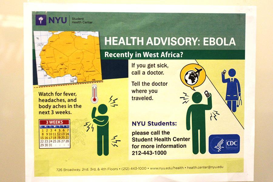 Health flyers are posted in residence halls, such as Gramercy Green.