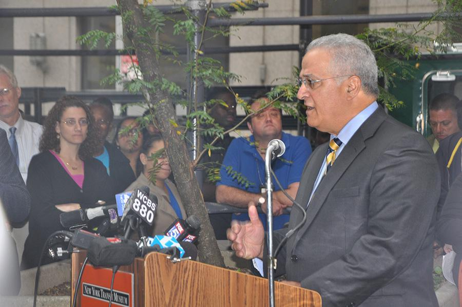 Carmen Bianco, president of New York City Transit, speaks to the crowd about the history of 370 Jay St., once the headquarters of New York City Transit.