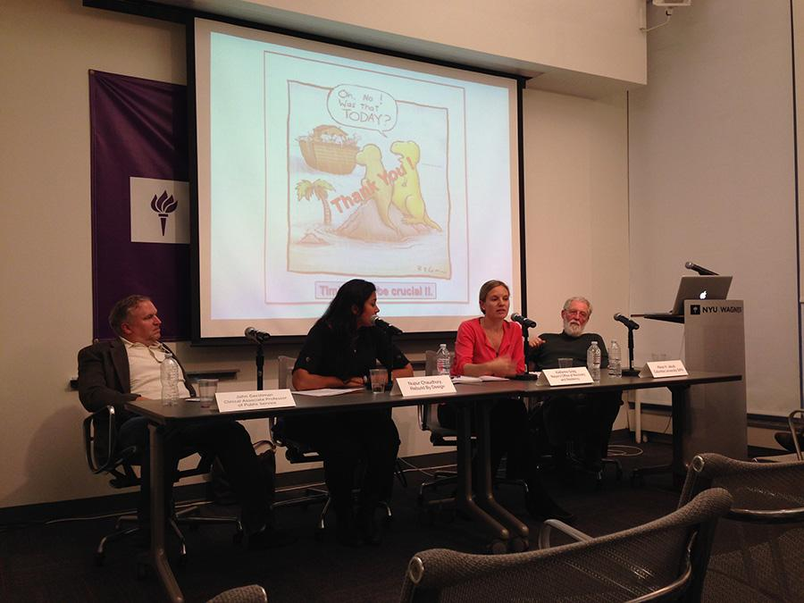 John Gershman, Nupur Chaudhury, Katherine Greig and Klaus Jacobs, left to right, speak at a panel about disaster preparedness.