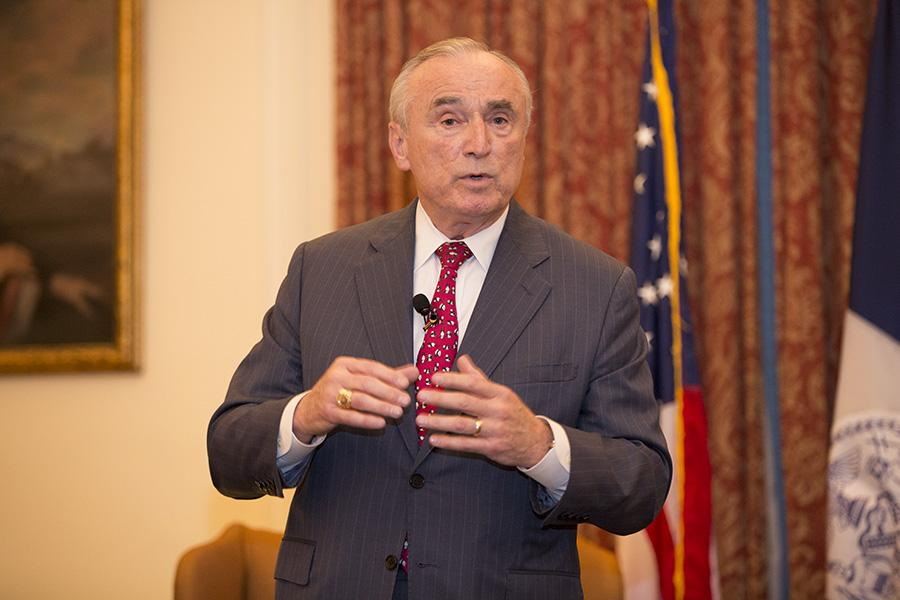 While Bratton discussed the stop-and-frisk policies in New York, protesters gathered at the NYU School of Law.