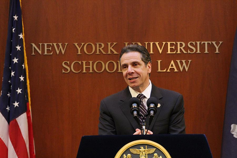 New York Gov. Andrew Cuomo speaks at NYU Law about his plans not to approve the 2015 New York State budget. Cuomo addressed the public's distrust in the government and emphasized transparency.
