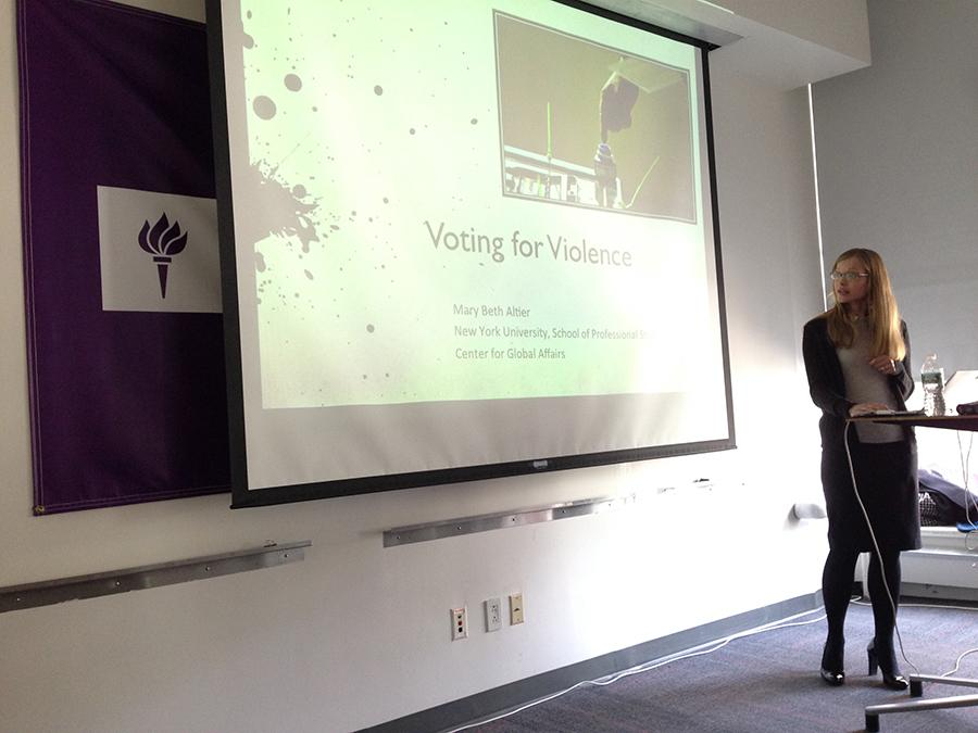 In a presentation, Mary Beth Altier explores why people support paramilitaries during polls.