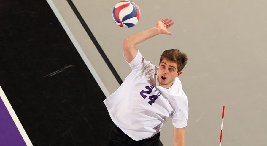 Klein led the Violets with 21 total kills during Saturday's two matches.