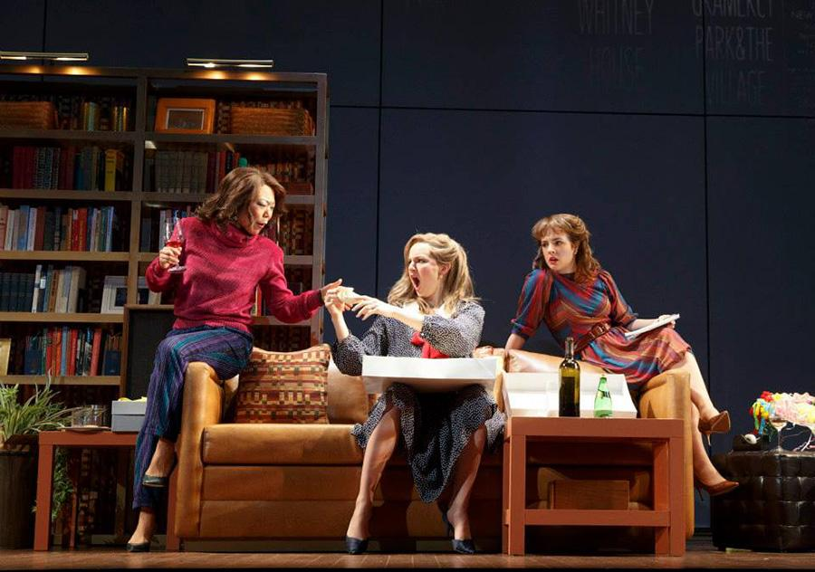 "Ali Ahn, Leighton Bryan, and Elise Kibler, left to right, in ""The Heidi Chronicles."""