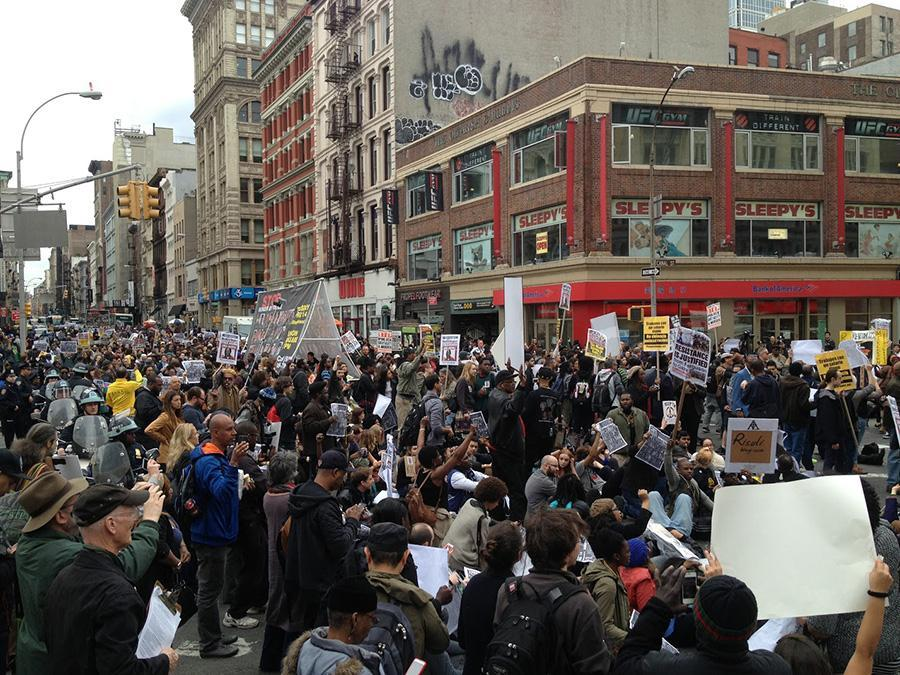 Protesters fill Canal Street on Tuesday during an anti-police brutality demonstration.