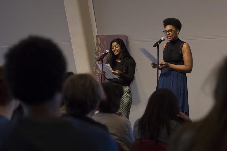 Ramya Ramana, left, and Crystal Valentine deliver a spoken word duet