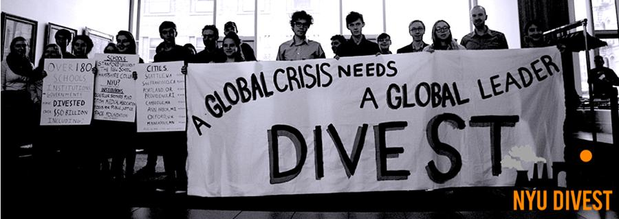 Students, faculty, and alumni calling on NYU to divest from the fossil fuel industry.