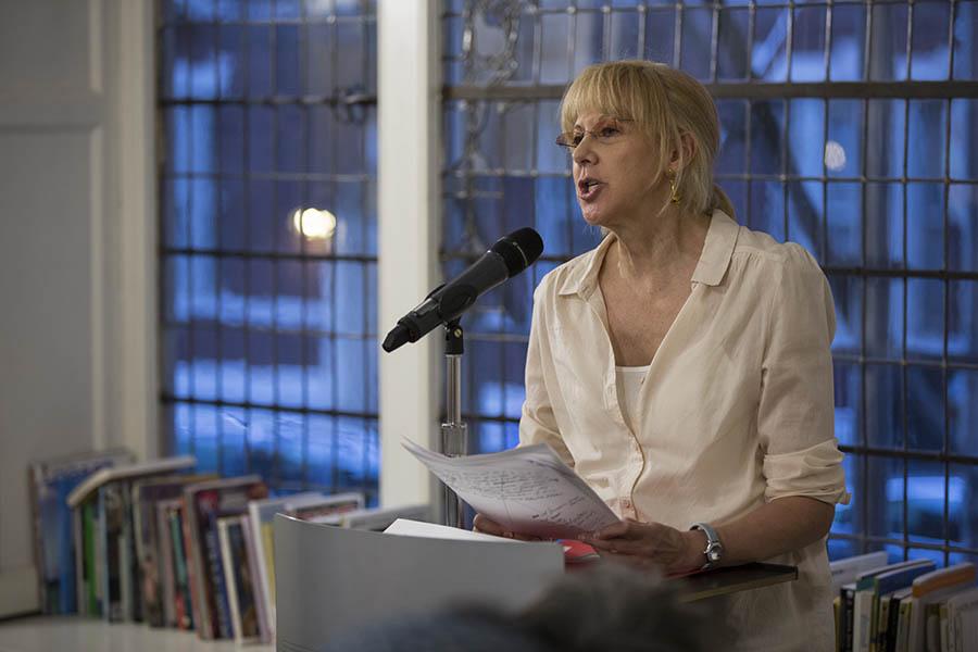 Lynn Emanuel speaking at the Lillian Vernon Creative Writers House.