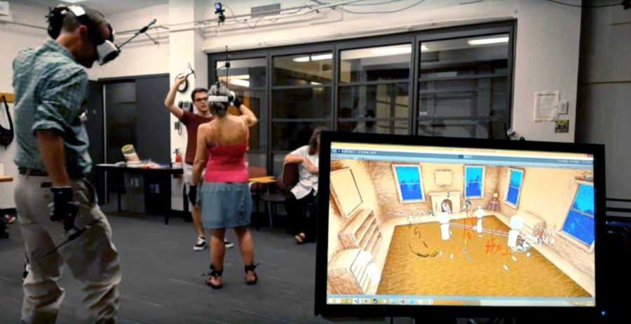 NYU graduate students and faculty test Holojam, a virtual reality headset created by NYU Professor, Kenneth Perlin.