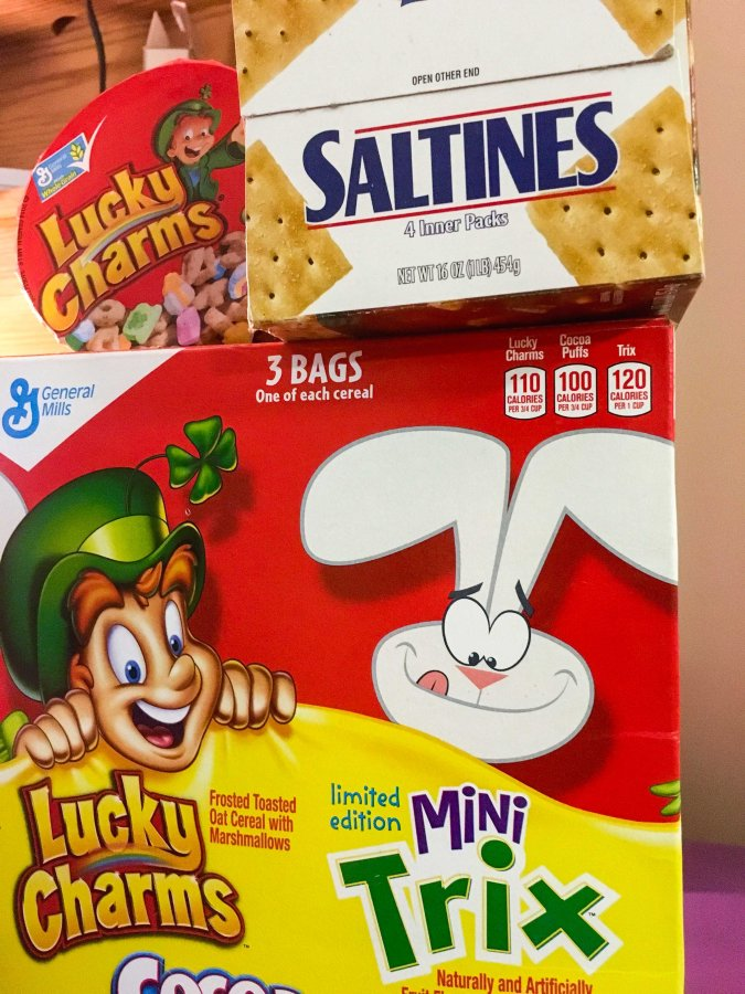 Lucky Charms and Saltines are both great long-lasting snacks you can purchase so you can stay in your dorm when hungry.