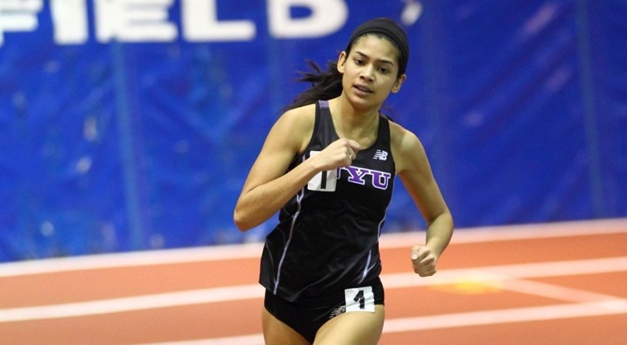 Ireland Gibson of NYU's Track and Field team ran a new 800m record for NYU.