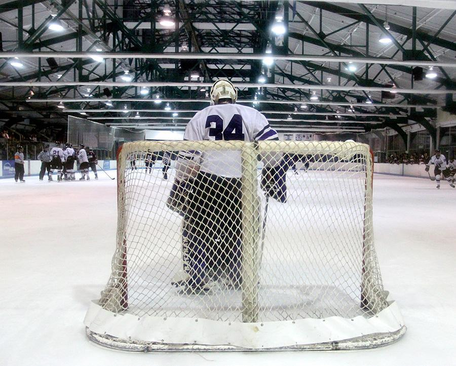 Sam Daley waits in his nets to deflect all shots on goal.