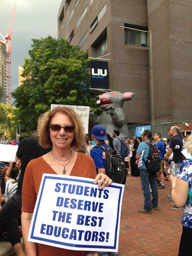 Emily Barnett at the LIU rally in Brooklyn on Sept 14.