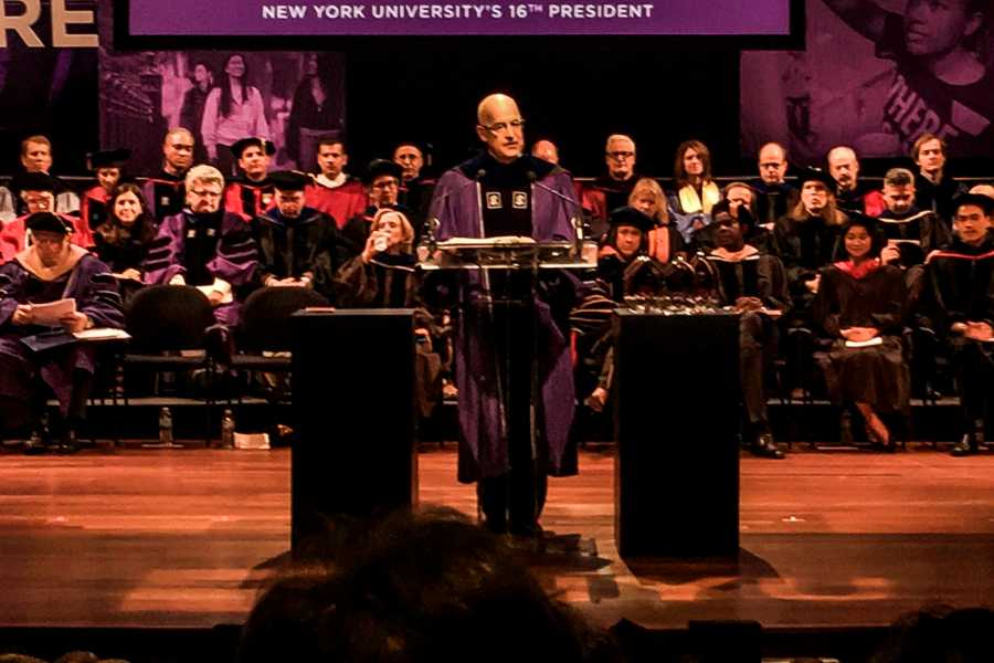 NYU inaugurated Andrew Hamilton as its 16th President on Sunday, while focusing on the university's biggest issues and concerns, such as affordability and diversity.
