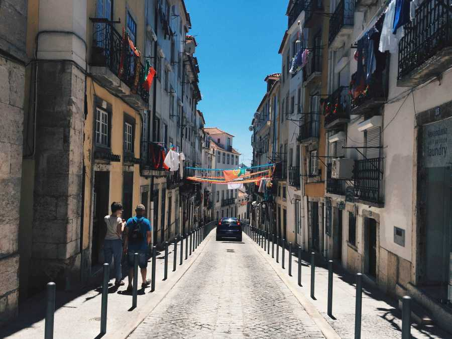 A typical street in Lisbon, Portugal.