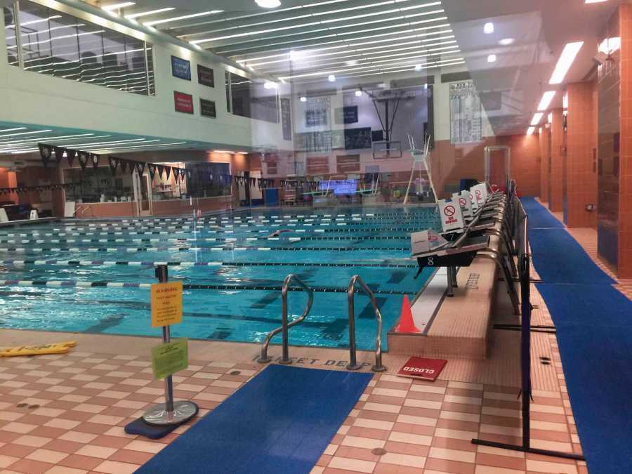 The eight lane, deep water swimming pool at Palladium's Athletic Facility is open for free swim during select hours throughout the week.