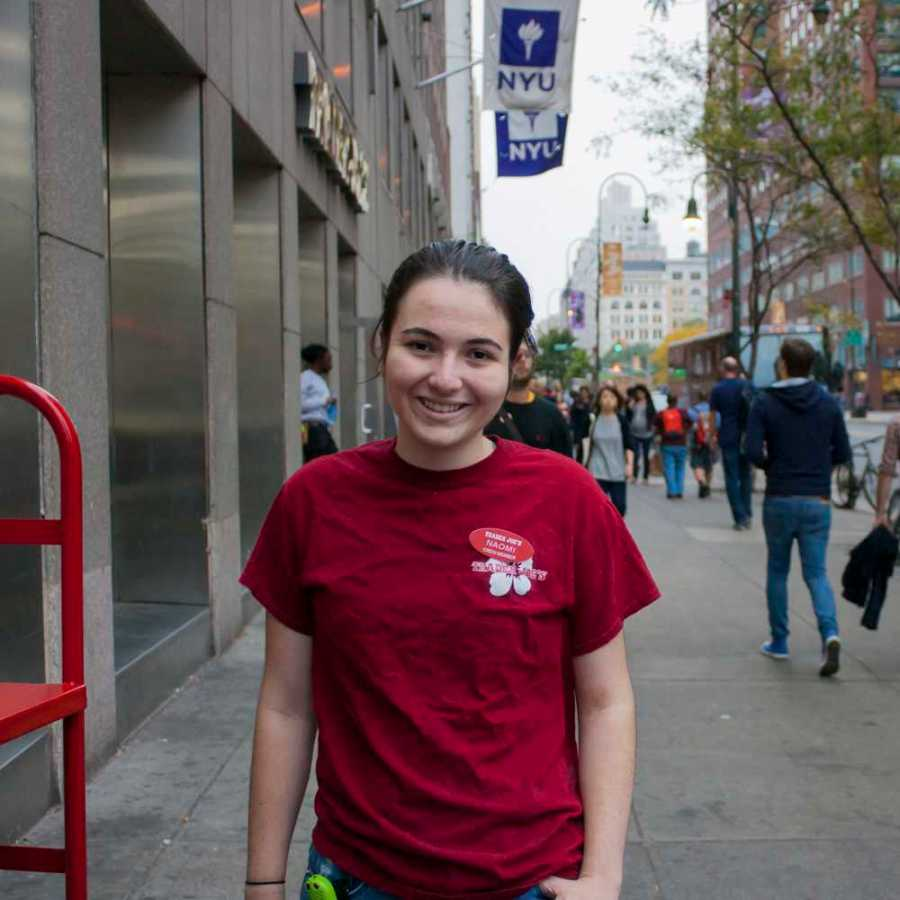 Junior Naomi Markman balances her Gallatin studies with shifts at the Trader Joe's by Palladium, which happens to be the busiest in the country.