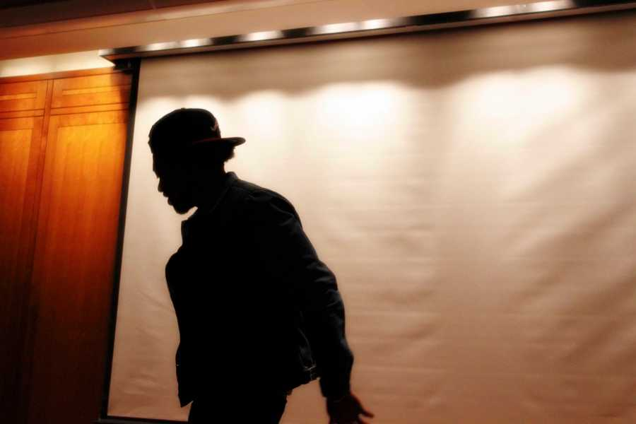 Poet and rapper Cellus Hamilton, performs at an NYU poetry slam event held by the IEC in collaboration with Slam! at NYU