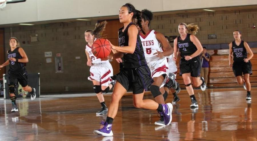 NYU took 75 points to Baruch's 43 in the women's basketball, with Amy Harioka leading the offence.