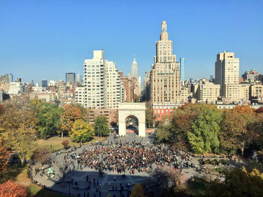 An aerial view of Washington Square Park (Photo by Alex Bazeley)