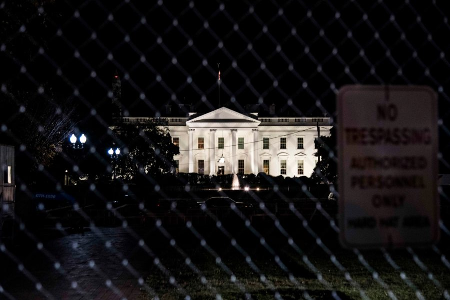 View of the White House on Election Night