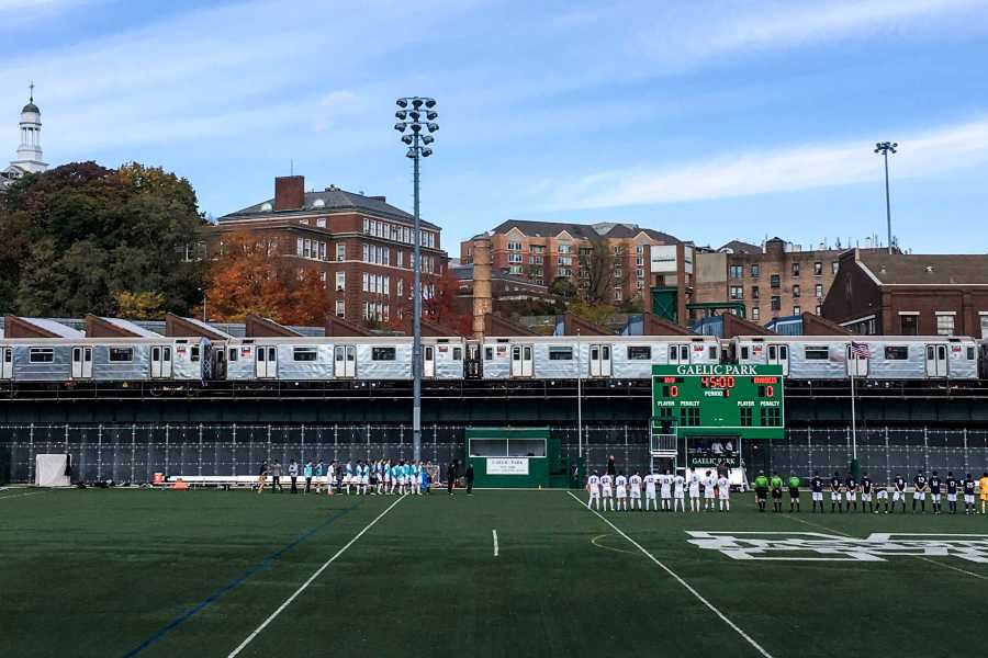 Both the men's and women's soccer teams celebrated their final games of the regular season on a picturesque fall day at their home Gaelic park.